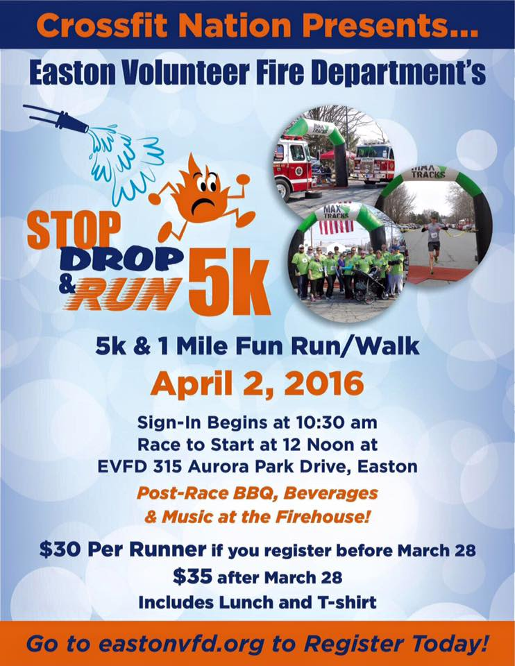 CROSSFIT NATION presents  EVFD's STOP, DROP & RUN 5K and 1-MILE FUN RUN/WALK